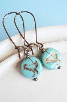 Bird Earrings Aqua
