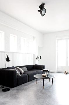 Living Space. Minimalist. Contemporary. Modern. Concrete Floors. Design. Decor. Interiors. Home. Mags sofa by Hay DK.