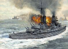 German Battleship SMS Kaiser fires on HMS Warspite before 5th Battle Squadron…