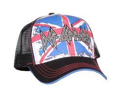 493016998d4 Check out this cool Def Leppard trucker hat! Each hat features a screen  printed front