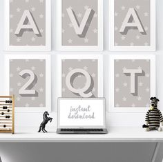 39 Soft Grey Alphabet Letter Printables to download and Create Names, Words and Number Wall Art any way you want- Available on 5 sizes from Postcard to Poster- #wallart #kidsprints #initialart