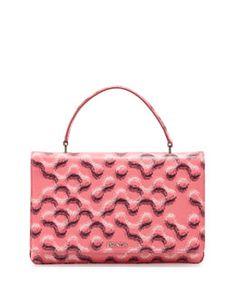 Prada Molecule-Print Saffiano Top-Handle Bag, Rose or Gray Fall 2015
