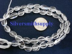 Crystal quartz natural stone oval bead 14 inch strand approximately 40 pcs Semi Precious Beads, Beading Supplies, Quartz Crystal, Natural Stones, Crystals, Bracelets, Silver, Gifts, Ebay
