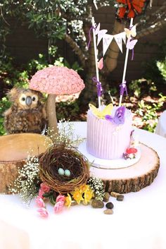 Cute smash cake at a fairy birthday party! See more party ideas at CatchMyParty.com!