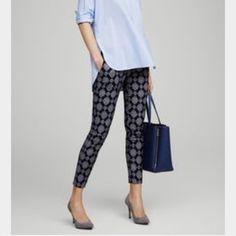 Ann Taylor navy medallion pants NWOT Ann Taylor retail (not LOFT). Pencil pants. Ann Taylor Pants Straight Leg