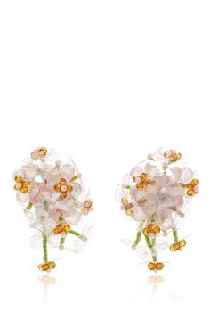 One of London's most respected young designers, Simone Rocha melds the pretty and the perverse in a striking spring collection. These **Simone Rocha** earrings feature modern, feminine floral embellishment in a clip-on piece. Beaded Earrings, Clip On Earrings, Stud Earrings, Bead Jewellery, Beaded Jewelry, Young Designers, Spring Collection, Jewelry Design, Women Jewelry