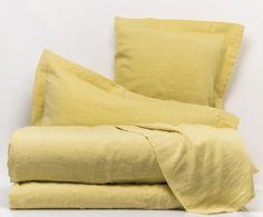 Completo letto in lino Day by Day giallo, matrimoniale   Dalani Home & Living