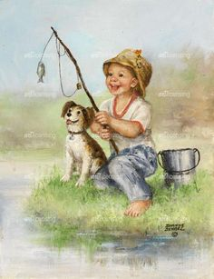Dianne Dengel Art Mignon, Boy Fishing, Country Art, Baby Kind, Fish Art, Wildlife Art, Artist Art, Cute Drawings, Cute Art