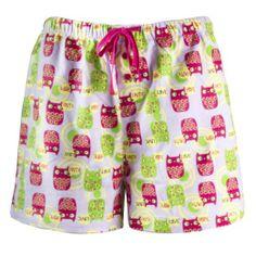Women's Cotton Pajama Flannel Boxer Shorts Hope Faith Love Owl