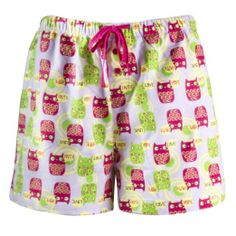 Women's Cotton Pajama Flannel Boxer Shorts Hope Faith Love Owl