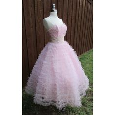 50s Cupcake Light Pink Tulle Vintage Prom Dress Pin Up Ruffle... ($225) ❤ liked on Polyvore featuring dresses, ruffle prom dress, prom dresses, purple lace dress, vintage cocktail dresses and purple prom dresses