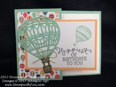 Carried Away Designer Series Paper was used along with the coordinating Lift Me Up stamp set and Up & Away Thinlits Dies are used to make this lovely hot air balloon card