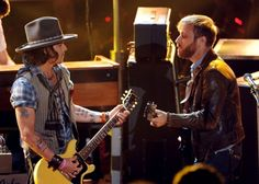 Johnny Depp and Dan Auerbach of the Black Keys at the 2012 MTV Movie Awards