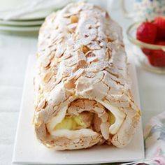 Mary Berry Lemon meringue roulade without almonds and with double cream alternative :) christmas pavlova Lemon Desserts, Lemon Recipes, Sweet Recipes, Delicious Desserts, Dessert Recipes, Yummy Food, Meringue Desserts, Mary Berry Desserts, Uk Recipes