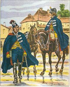 French; Gendarmes d'Elite, Officier á cheval & Gendarme á cheval, Petite Tenue en Manteau, 1801-03