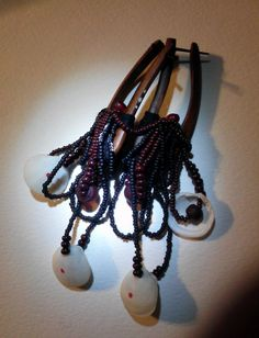 stick sawa wood ear weights thread wrapped with woven by http:paperanji.etsy.com