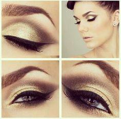 Me encantan los brillos dorados en el maquillaje de ojos!