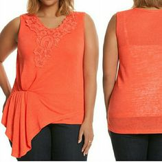 "Lane Bryant 18/20 Coral Modern Asymmetric Tank This Lane Bryant 18/20 Coral Modern Asymmetric Tank top is New With Tags, still in the package. ""RAYON / POLYESTER; MACHINE WASH; LENGTH: 28""; SIZE: 18/20.  Cool linen (look) tank takes a fresh look at the peplum top with a side-swept waist detail. Charming crochet trim and a flattering scoop neck complete the look."" Model shots from LaneBryant.com.  ::: Bundle 3+ items from my closet and save 30% off when you use the app's Bundle feature…"