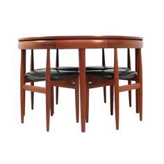 1960s Dining Set Table and Four Chairs by Hans Olsen for Frem Rojle, Denmark | 1stdibs.com
