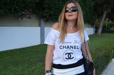 Passion for Chanel white t-shirt, the monochrome look White T, Monochrome, Chanel, Passion, T Shirts For Women, Tops, Monochrome Painting