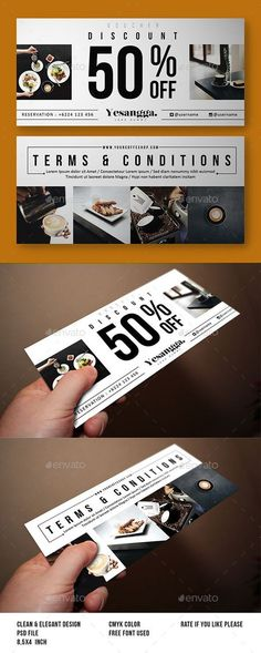 Buy Restaurant Voucher by yesangga on GraphicRiver. Restaurant Voucher, can be used for promote discount your restaurant, cafe, Bar , etc All Design Resizable with Photo. Layout Design, Flugblatt Design, Banner Design, Print Design, Design Ideas, Photo Restaurant, Restaurant Design, Restaurant Poster, Ticket Design