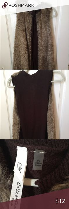 Faux fur vest Fall is right around the corner! Be ready in this trendy vest. Petite. It hit me about mid-thigh. NY Collection Jackets & Coats Vests