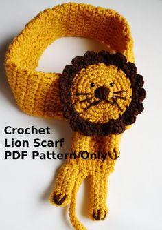 Crochet Lion Scarf PDF Pattern Only by missdee1 on Etsy, $6.00