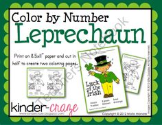 FREE Color by Number Leprechaun product from Kinder-Craze on TeachersNotebook.com