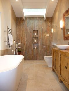 no step into shower.   Warmth and white.  Wood.  Maybe different wood on cabinets,lighter stone in shower.  Bathroom Design, Pictures, Remodel, Decor and Ideas - page 43