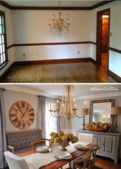 Lots of amazing tranformation ideas in this home! Dear Lillie: A Little Tour Through All the Befores and Afters So Far Home Staging, Home Renovation, Home Remodeling, Dear Lillie, Dining Room Inspiration, Home And Deco, Sweet Home, Shabby, Room Decor