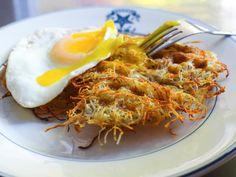 A genius & savory way to use a waffle iron. Recipe here.