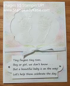 Card made with Stampin'UP! stamp set: Baby Prints. by StampLadyKatie