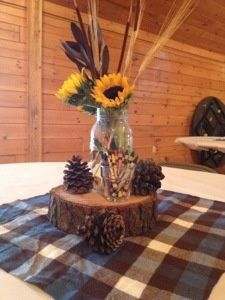 Centerpiece for camping themed birthday party...don't need anything this fancy but pine cones are a cute idea! - ruggedthug