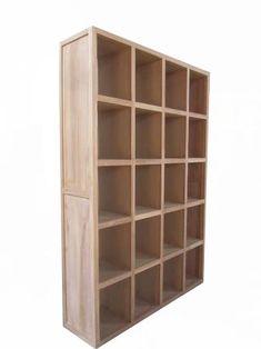 Teak boekenkast wandkast room divider 150 cm Amsterdam 20 vakken - Teakhouten Meubelen en Landelijke tafels,kasten en tv-meubels|
