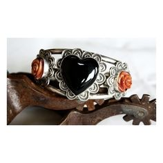 Shane Casias Onyx Heart Cuff Bracelet - roses, spiny oyster, cuff,... ($1,325) ❤ liked on Polyvore featuring jewelry and bracelets