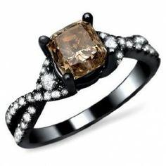 Black Gold Cushion Cut Brown Diamond