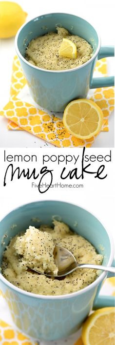 Lemon poppy seed muffin mug cake ~ a quick tasty single serving breakfast or dessert treat! fivehearthome com microwave chocolate mug cake Mug Cakes, Mug Cake Receta, Microwave Mug Recipes, Microwave Dishes, Microwave Cake, Easy Mug Cake, Muffin In A Mug, Lemon Mug Cake, Lemon Poppyseed Muffins