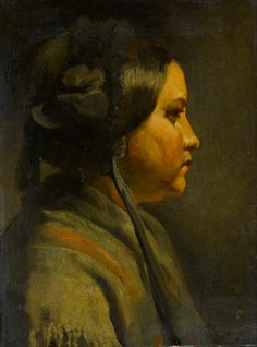 Matthijs Maris - Study of the head of a young woman in profile - 1855    Oil on panel, Height: 673 mm (26.5 in). Width: 567 mm (22.32 in).    Gemeentemuseum Den Haag, the Hague, the Netherlands