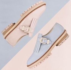 Masculine look featuring ultra-feminine details in perfect college style #agl #aglshoes #shoes #monkstrap #madeinitlay #leather #cerulean #pink #rosequartz #pantone #pastel #style #design #love #shop
