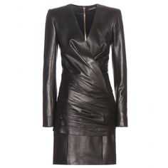 Balmain - Ruched leather mini dress - Oozing the label's signature cool aesthetic, Balmain's leather mini dress is your go-to for a sleek evening look. With a fitted fold-over design, it's further detailed with a ruched body and skirt. seen @ www.mytheresa.com