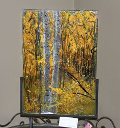 The Amazing Birch By Dianne Taylor Fused Glass Painting