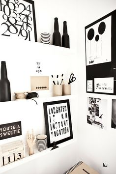 Black, white and recycled cardboard - smart workspace