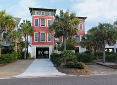 """The Pink Flamingo"" at 507 East Arctic Avenue on #FollyBeach.  oceanfront vacation home. www.dunesproperties.com"