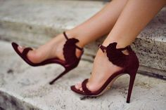 Looking for something unique to add to your wedding? Switch out the classic ivory pumps for a glamorous Marsala sandal.