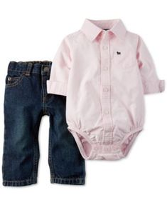 Carter's Baby Boys' 2-Piece Polo Bodysuit & Jeans Set