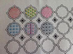 Block 1 stitched by Jan using hematite beadsI www.blackworkjourney.co.uk