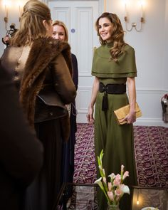 29 November 2016 - Queen Rania receives the Humanitarian of the Year Award from the Foreign Press Association in London - jumpsuit and belt by Balmain