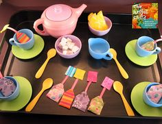 Cute idea, making fabric tea bags and wooden sugar cubes, plus felted lemon wedges, for kids to play with