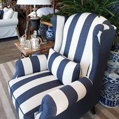 Blue and white striped armchair plus bamboo side table and Cambridge tea set = our dream lounge room. What does your dream lounge room look like? #Collaroy #Bundall #alfrescoemporium #blueandwhite