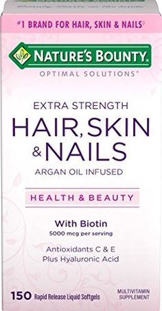 Nature's Bounty Optimal Solutions Hair, Skin & Nails Extra Strength, 150 Softgels //Price: $7.59 & FREE Shipping // #hashtag2